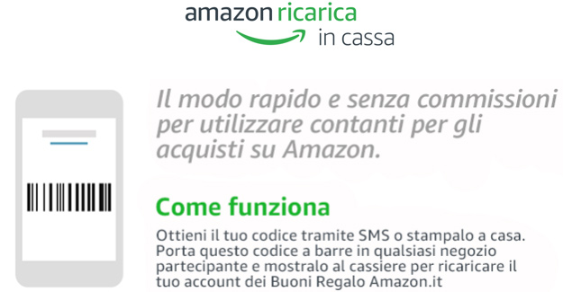 Amazon annuncia il servizio Ricarica in Cassa: Acquisti senza carte di credito