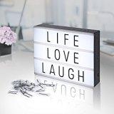 AGM Lampada LED Light Box Lavagna a 3 Righe Decorazioni Casa con Lettere Luminose e Luce Calda