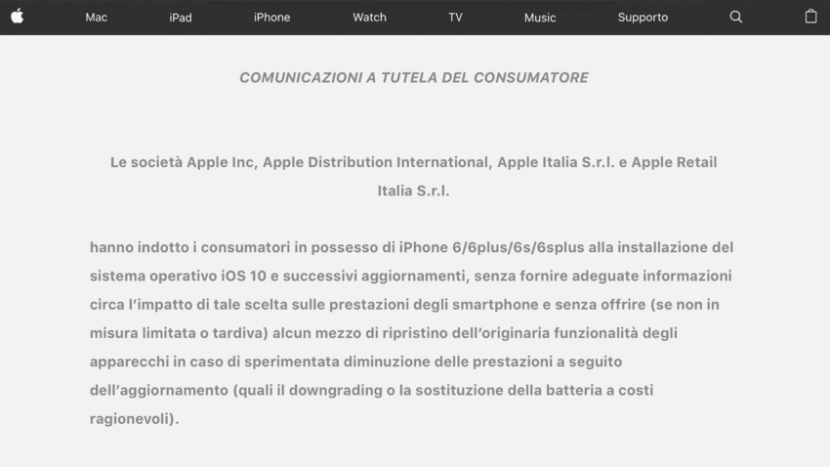 Obsolescenza programmata: Apple obbligata a pubblicare la sentenza AGCM sul proprio sito Italiano