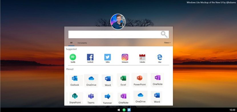 Windows Lite OS si mostra con uno screenshot