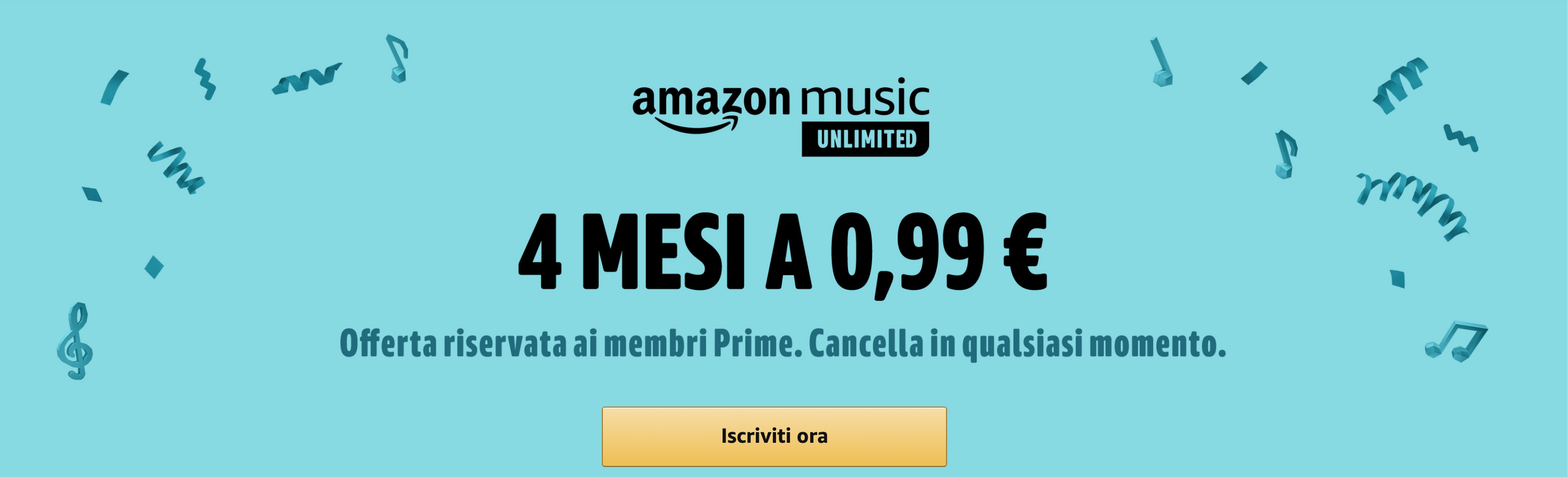 Amazon Music Unlimited 4 mesi 0,99€