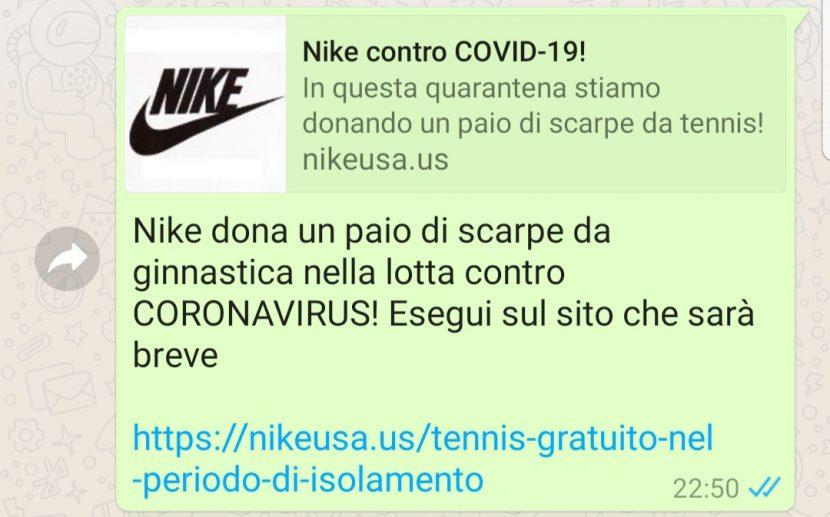 Nuova TRUFFA su WhatsApp che sfrutta il Coronavirus ed il marchio Nike