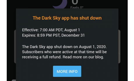 Dark Sky: L'app meteo acquistata da Apple non è più disponibile su Android