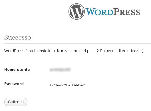 installazione di wordpress avvenuta con successo