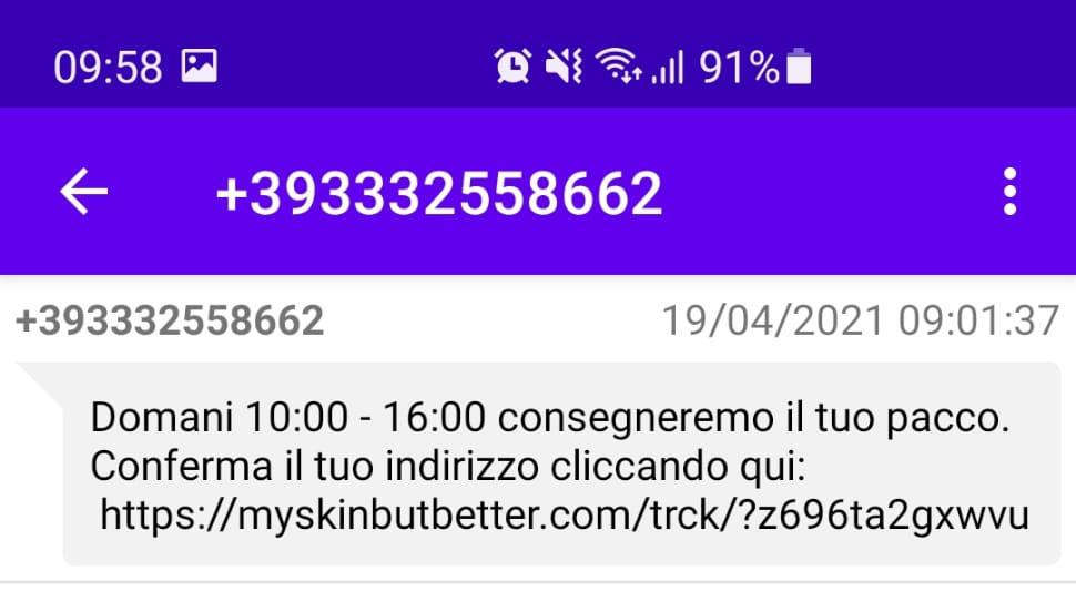 Testo dell'SMS truffa