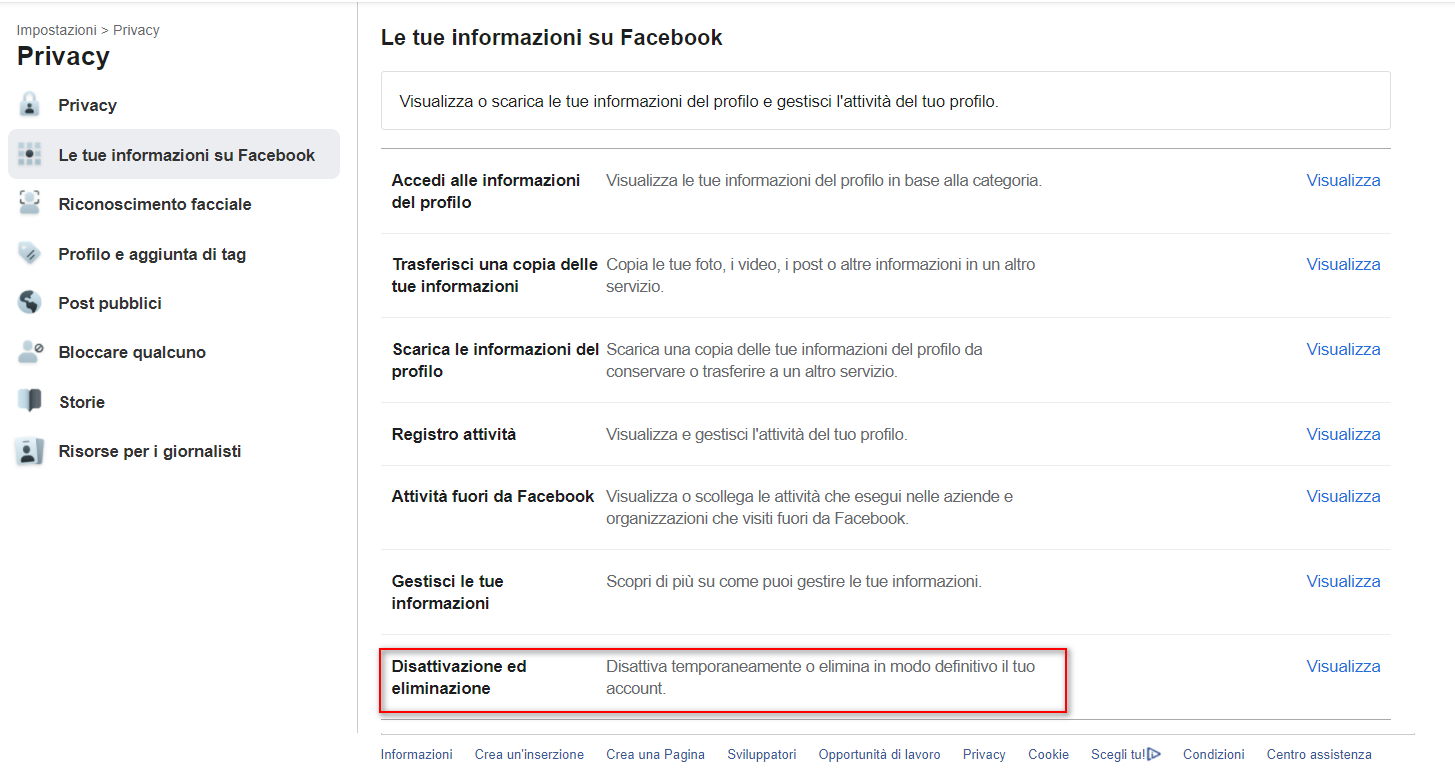Cancellare profilo Facebook