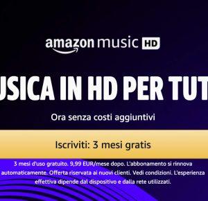 Amazon Music offre la musica HD in alta definizione come Apple Music: provalo gratis per 4 mesi
